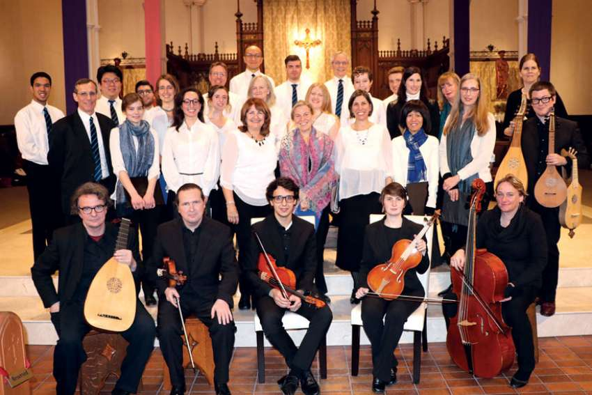 University of St. Michael's College's Schola Cantorum founder, Michael O'Connor (second row left) teamed up with John Edwards (front row with lute), the Musicians in Ordinary and others for an Advent program spanning nearly 1,000 years of Christian music from the Middle Ages into the 17th century.
