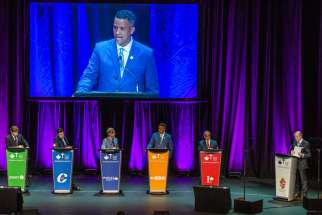 Representatives from five national parties took to the stage for the Catholic debate on Oct. 3 in Toronto.