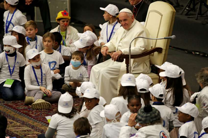Pope Francis leads a special audience in Paul VI hall at the Vatican Dec. 15 for patients and workers of Rome's Bambino Gesu children's hospital.