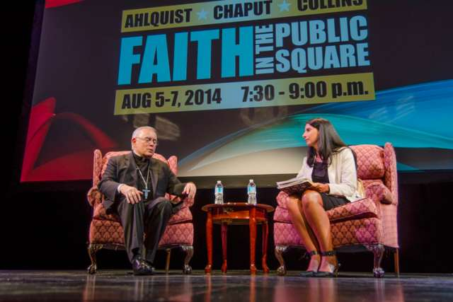 Philadelphia's Archbishop Charles Chaput (left) those attending day two of the Faith in the Public Square conference that one must always remember that natural law precedes civil law.