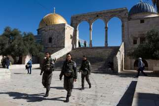 Israeli Border Police patrol the the site in Jerusalem's Old City known as Haram al-Sharif by Muslims and that Jews refer to as the Temple Mount.