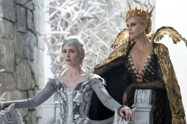 Emily Blunt, left, and Charlize Theron in The Huntsman: Winter's War