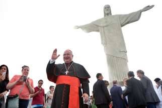 "Cardinal Orani João Tempesta, archbishop of Rio de Janiero, launches the ""Friends of Christ the Redeemer"" campaign on Dec. 13, 2016, to raise funds to restore the famous statue."