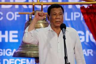 Filipino President Rodrigo Duterte is seen Dec. 15, 2018, in Balangiga, Philippines. In a New Year message, Archbishop Socrates Villegas of Lingayen-Dagupan, Philippines called on people to ignore Duterte's repeated rants against the Catholic Church.