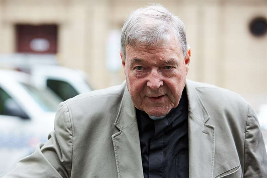 Australian Cardinal George Pell arrives at the County Court in Melbourne Feb. 26, 2019. An Australian court found Cardinal Pell guilty on five charges related to the sexual abuse of two 13-year-old boys; the verdict, reached in December, was announced Feb. 26. Sentencing is expected in early March, but the cardinal's lawyer already has announced plans to appeal the conviction.