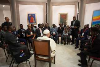 Pope Francis meets with Jesuits in Maputo, Mozambique, Sept. 5, 2019. One of the Jesuits asked Pope Francis how his experience of God has changed since he was elected pope in 2013; he replied that he has greater responsibilities now and his prayers of intercession include global concerns, but he is still a sinner who goes to confession every two weeks.