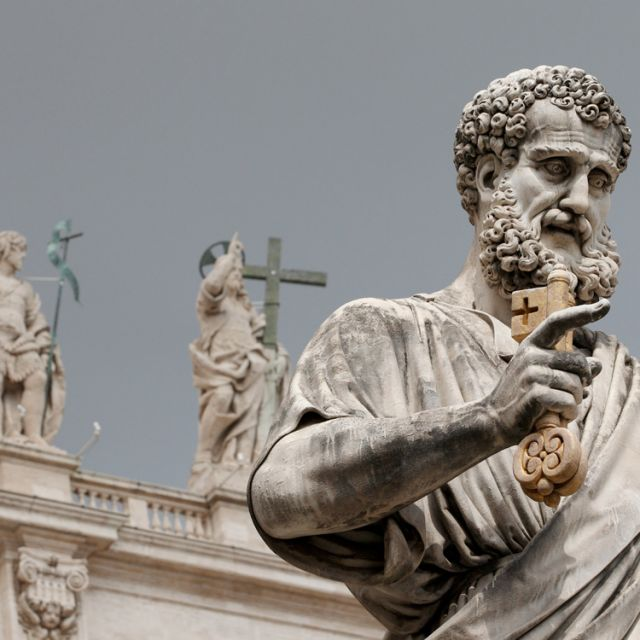 The statue of St. Peter in St. Peter's Square at the Vatican