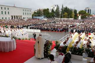Pope Francis celebrates Mass in Mother Teresa Square in Tirana, Albania, Sept. 21.