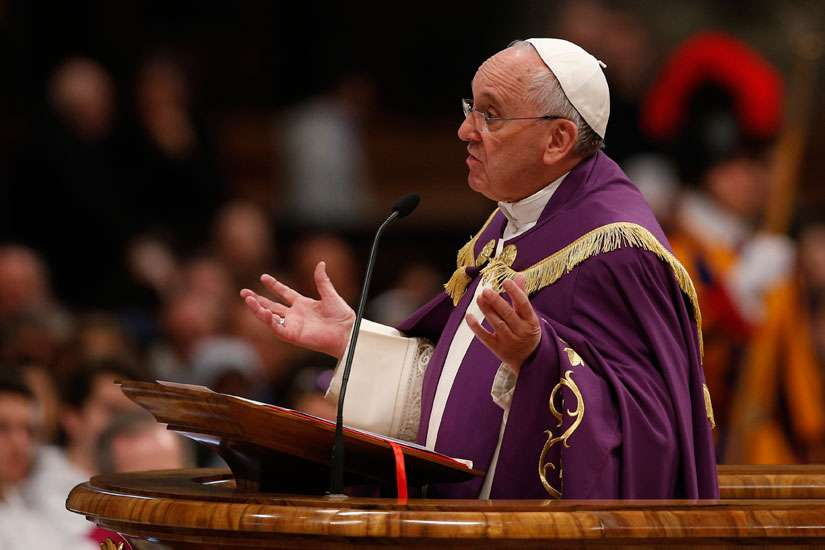 Pope Francis preaches during a Lenten penance service in St. Peter's Basilica at the Vatican March 13. During a March 13 penance service, the pope announced an extraordinary jubilee, a Holy Year of Mercy, to be celebrated from Dec. 8, 2015, until Nov. 20 , 2016.