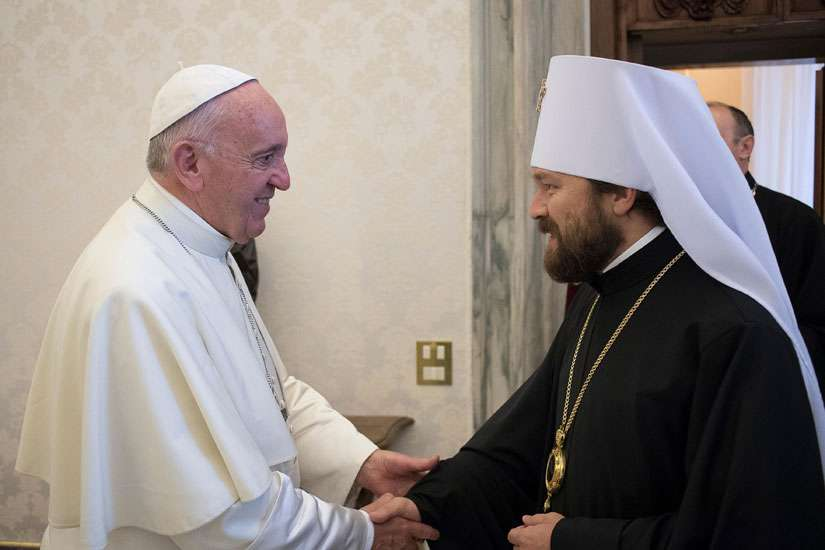 Pope Francis greets Metropolitan Hilarion of Volokolamsk, head of external relations for the Russian Orthodox Church, at the Vatican Sept 15. Between Sept. 15-22 leading Catholic and Orthodox bishops will come together in Italy to discuss key issues that are keeping their churches apart.