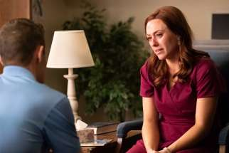 "Ashley Bratcher, who plays Abby Johnson, is pictured in a scene from the movie ""Unplanned,"" the story of Abby Johnson, a former Planned Parenthood clinic director, and her decision to join the pro-life movement."