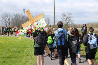 "HCDSB students participate in the school board's annual Walk with Jesus walk. The ""Sanctity of Life"" policy excluded 70 charities from a list of about 100 the school community regularly supports, including Sick Kids Hospital, the Canadian Cancer Society, Me to We and the Terry Fox Run."