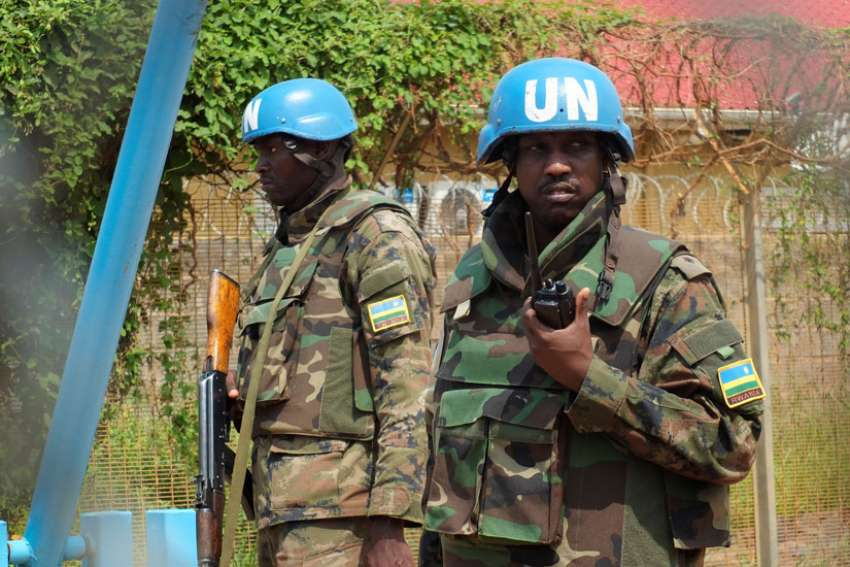 Rwandan peacekeepers serving in the U.N. Mission in Juba, South Sudan, July 20. The country's Christian leaders are seeking Pope Francis' support as they work towards peace.