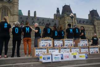 Development and Peace dropped 80,000 signed cards on Parliament Hill calling for the creation of a mining ombudsman.