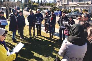 Parishioners from St. Anthony of Padua in Vancouver gather for 40 Days for Life.
