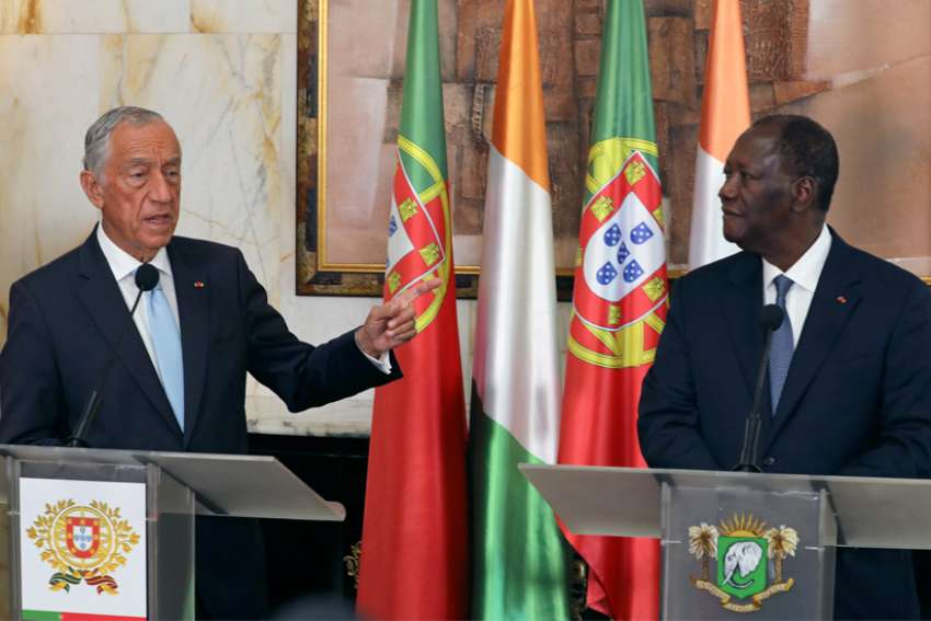 Portuguese President Marcelo Rebelo de Sousa speaks during a joint news conference with Ivory Coast President Alassane Ouattara at the Presidential Palace in Abidjan, Ivory Coast, June 13, 2019. Bishops in the Ivory Coast have warned of a new civil war in the run-up to 2020 elections, unless urgent action is taken to ease communal tensions and withdraw weapons in the West African state.