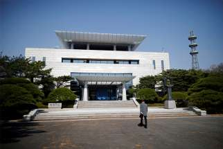 The Peace House, the venue for the summit between the Koreas, is pictured April 18 at the truce village of Panmunjom inside the demilitarized zone separating North and South Korea. Leaders of both Koreas will meet April 27 for a historic summit just inside South Korean territory.