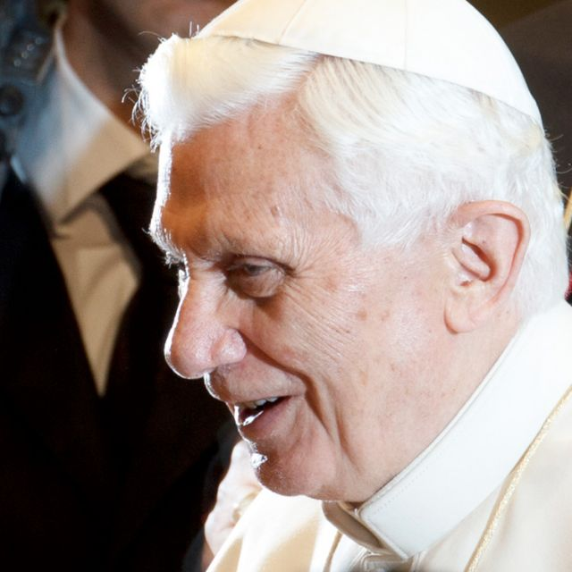 Pope Benedict XVI is pictured while greeting guests during his general audience in Paul VI hall at the Vatican Jan. 4.