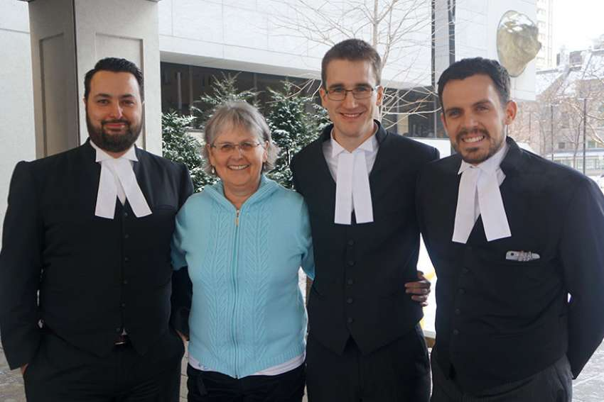 From left to right: constitutional lawyer Albertos Polizogopoulos, blogger Patricia Maloney, ARPA lawyers John Sikkema and Andre Schutten at the Ottawa courthouse in February 2017 after arguing their case in Ontario Superior Court.