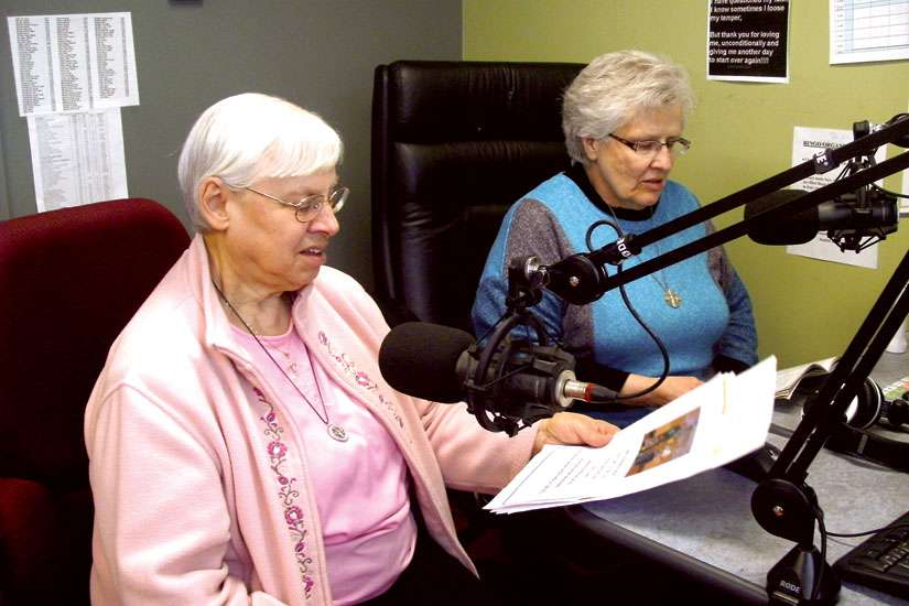 Sisters Pauline Girodat, left, and Joan Liss, who work at the Fort Good Hope Mission in the Northwest Territories, host Church Hour at local radio station CBQE.