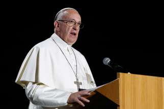 Pope Francis speaks at an ecumenical event at the Malmo Arena in Malmo, Sweden, Oct. 31.