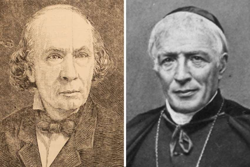 Victor Bourgeau (left), and Bishop Ignace Bourget.