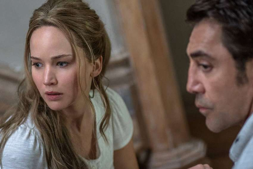 Jennifer Lawrence and Javier Bardem play a couple whose country-home serenity is upended with the arrival of another couple.