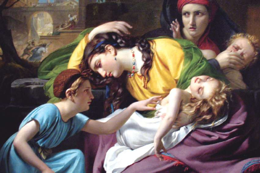 Rachel weeps for her children in this 1824 painting, The Massacre of the Innocents by François-Joseph Navez.