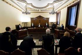 The courtroom is pictured during the trial of Angelo Caloia, former president of the Institute for Works of Religion, at the Vatican Jan. 21, 2021. Caloia, the former director of the so-called Vatican bank, and his lawyer, Gabriele Liuzzo, were found guilty of money laundering and embezzling millions of euros from the sale of Vatican properties. Both received a prison sentence of 8 years and 11 months and ordered to pay a fine of 12,500 euro ($15,200).