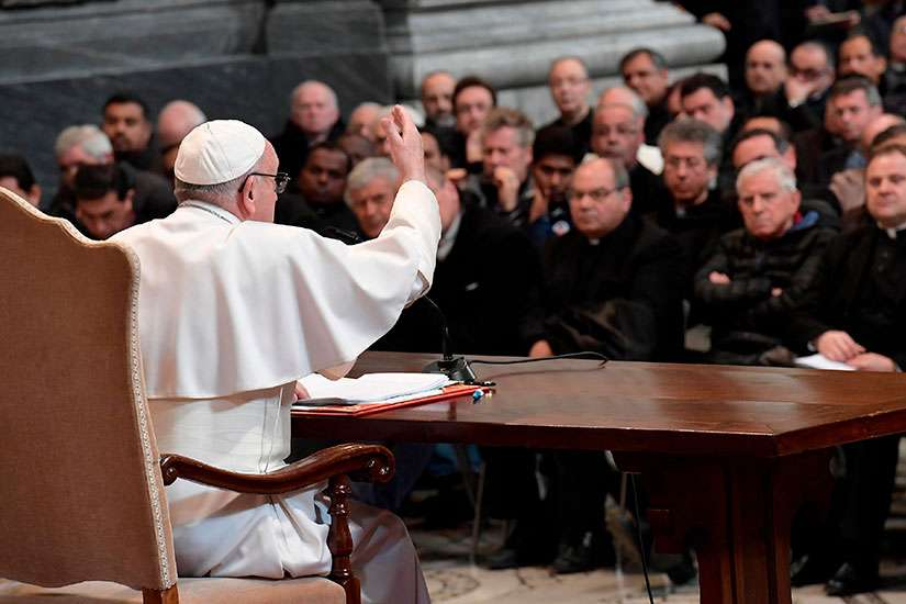 Pope Francis addresses priests of the Diocese of Rome during a meeting at the Basilica of St. John Lateran in Rome March 2.