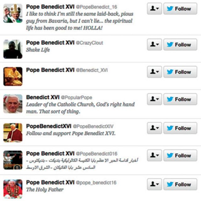 This is a screen capture of several unofficial Pope Benedict XVI Twitter feeds. The Vatican will introduce an official papal Twitter account before the end of the year and hopes that all the fake papal tweets will cease and desist.