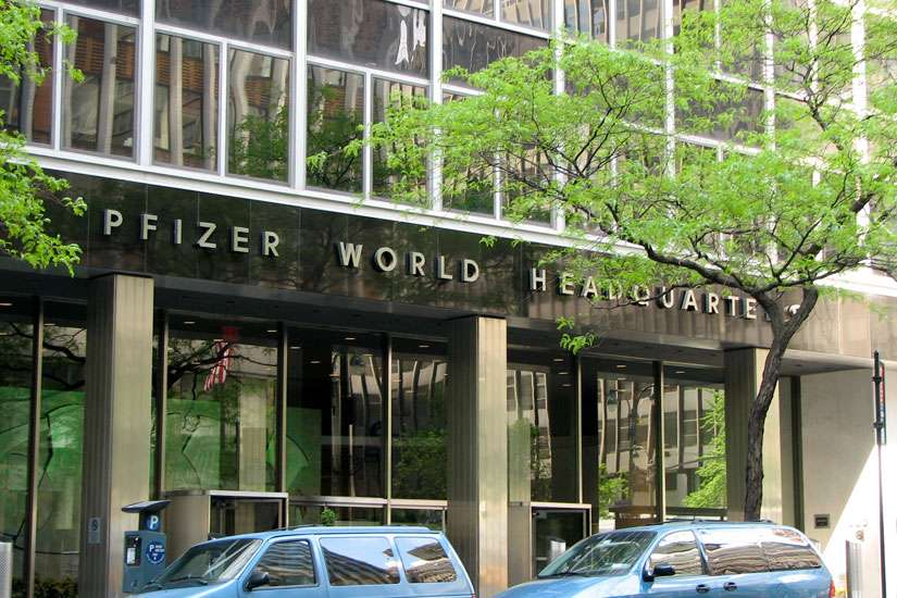 Headquarter of American global pharmaceutical corporation Pfizer in New York City, N.Y.