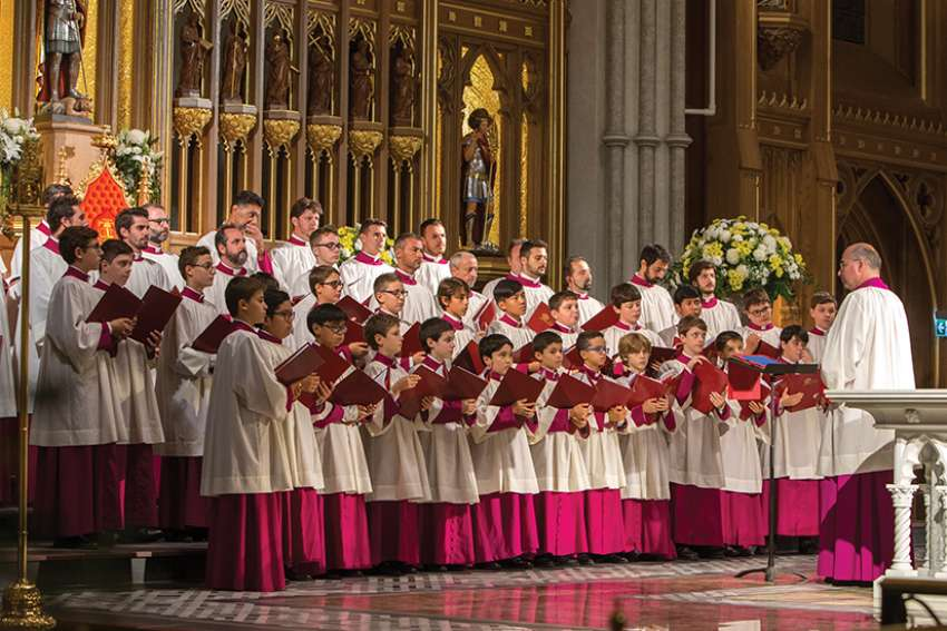 The Sistine Chapel Choir performing scared music at their sold-out Toronto concert at St. Michael's Cathedral on Sept. 26.