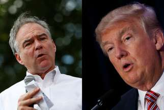 Democratic vice presidential nominee Tim Kaine, left, speaks at Fort Hayes Metropolitan Education Center in Columbus, Ohio, on July 31, 2016. Photo courtesy of REUTERS/Aaron P. Bernstein At right, Republican presidential nominee Donald Trump speaks at an American Renewal Project event at the Orlando Convention Center in Orlando, Fla., on Aug. 11, 2016.