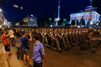 Ukrainian soldiers march along a street during a rehearsal for the Independence Day parade in Kiev Aug. 20. The parade will take place Aug. 24.