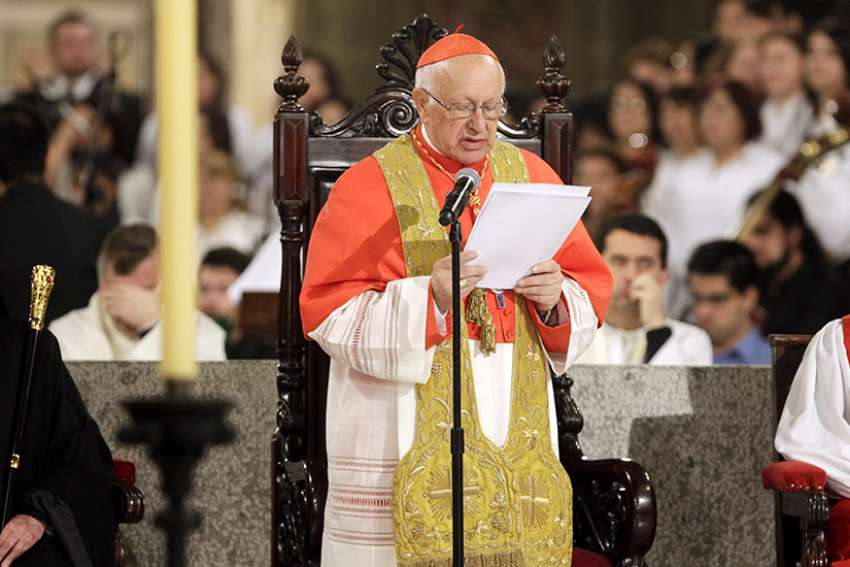 Cardinal Ricardo Ezzati of Santiago, Chile, speaks during an interfaith gathering in 2015 at the cathedral in Santiago.