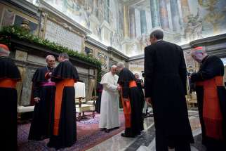 Pope Francis meets with members of Roman Curia.
