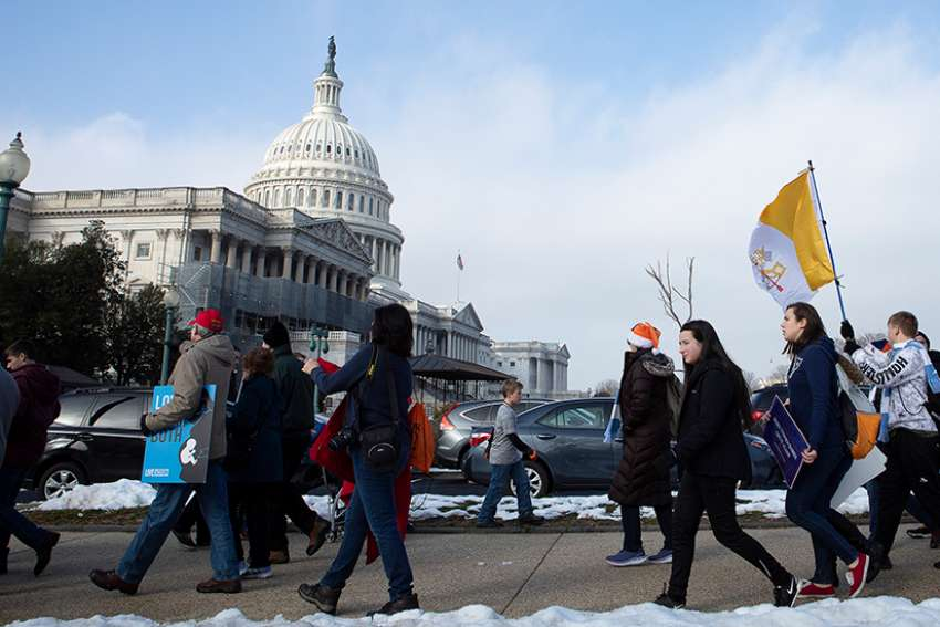 "Pro-life advocates are seen near the U.S. Capitol during the annual March for Life in Washington Jan. 18, 2019. In an evening vote Feb. 25, the Senate failed to pass a measure sponsored by Sen. Ben Sasse, R-Nebraska, to require that babies born alive after an abortion be given medical attention and ""the same protection of law as any newborn."""