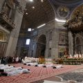 Ten priests lie prostrate during their ordination by Pope Francis in St. Peter's Basilica at the Vatican April 21.