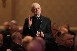 Cardinal Donald W. Wuerl, apostolic administrator of the Washington Archdiocese, speaks from the floor Nov. 13 at the fall general assembly of the U.S. Conference of Catholic Bishops in Baltimore.