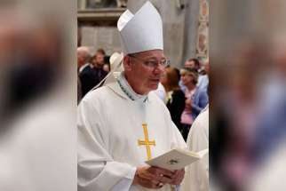 Pope Francis has accepted the resignation of Bishop Robert W. Finn of Kansas City-St. Joseph, Mo., who was convicted in 2012 on one misdemeanor count of failing to report suspected child abuse. Bishop Finn is pictured in a 2014 photo at the Vatican.