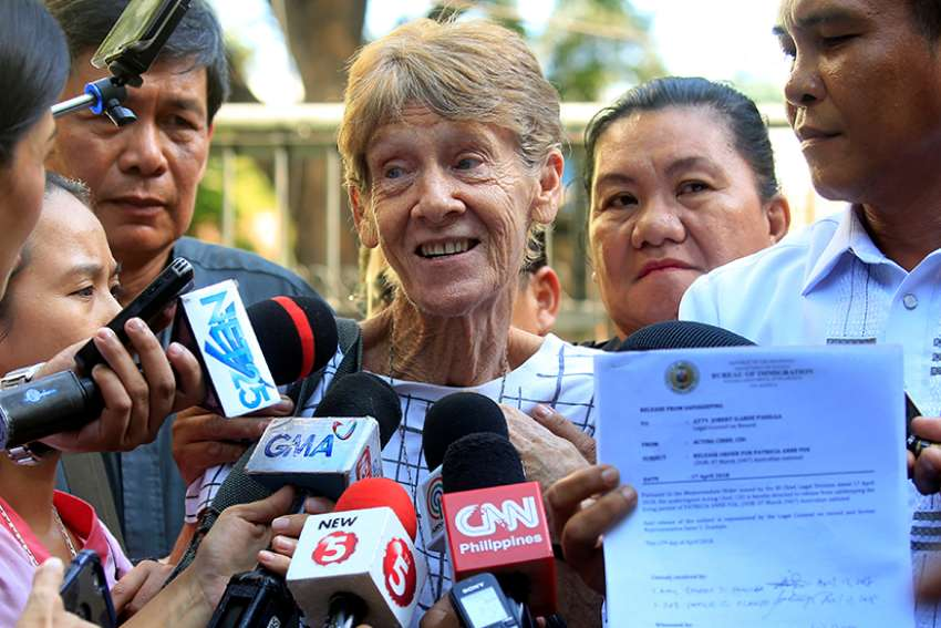 Sister Patricia Fox, superior of the Sisters of Our Lady of Sion in the Philippines, speaks to the media after her April 17 release from the Bureau of Immigration headquarters in Manila. Philippine authorities arrested the 71-year-old Australian nun for allegedly engaging in illegal political activities.