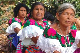Tzeltal women participate in their community's assembly in Chiapas.