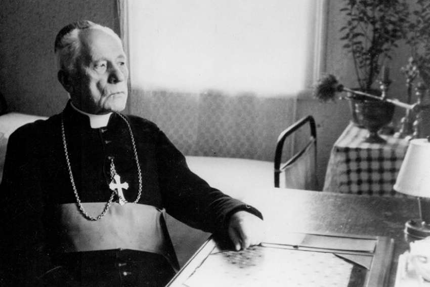 Archbishop Teofilius Matulionis is pictured in a 1957 photo. Archbishop Matulionis, who was murdered in 1962 with a lethal injection after 16 years in prisons and labor camps, was to become the first Catholic martyr from the country's communist era to be declared blessed June 25 in Vilnius.