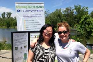 Faith & the Common Good's Mary Zhou (left) and Lucy Cummings (right) are promoting green faith action in York region, Ontario, in partnership with Greening Sacred Spaces. Both organizations are part of the working interfaith network that is Fossil Free Faith.