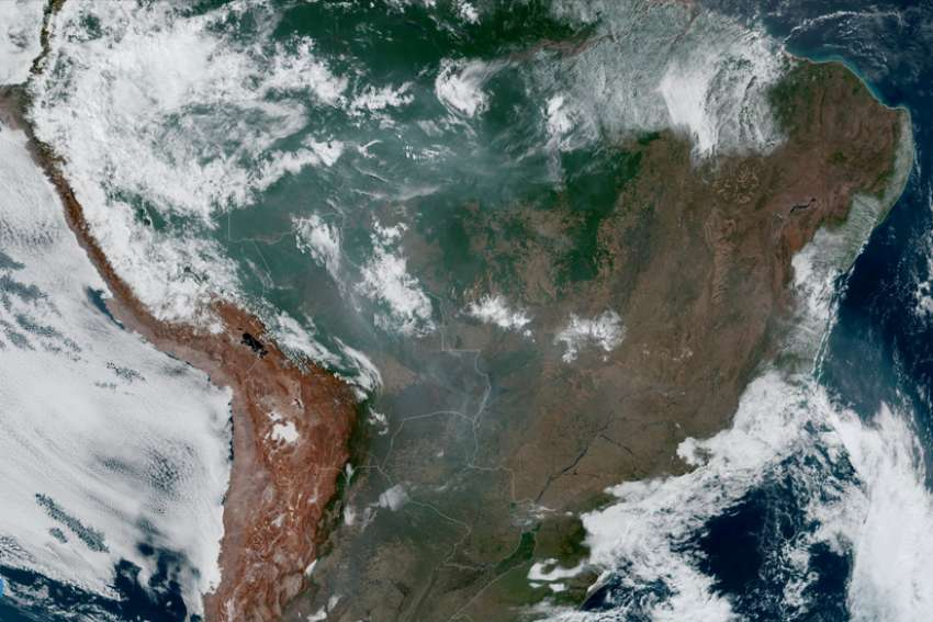 Fires burning in the Amazon rainforest are pictured from space by the geostationary weather satellite GOES-16 Aug. 21, 2019. Leaders of the Latin American bishops' council urged international action Aug. 22 to save the rainforest as massive fires continued to burn.