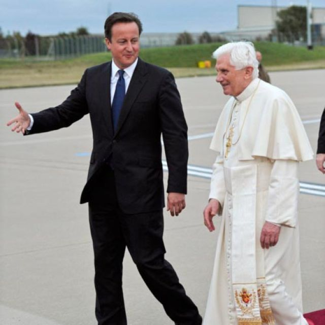British Prime Minister David Cameron, seen with Pope Benedict XVI during the Pope's 2010 visit to Britain.