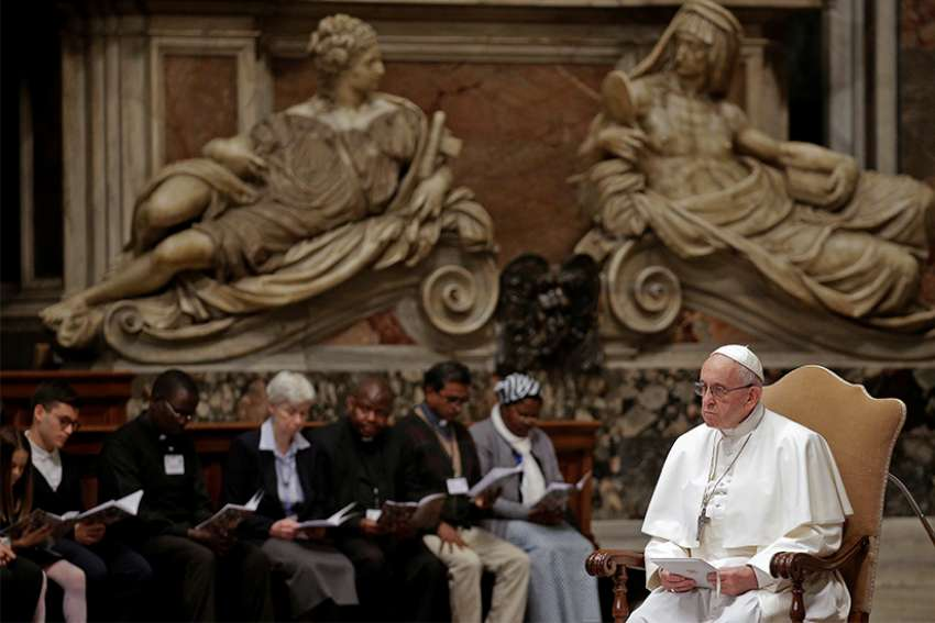 Pope Francis leads a prayer service for peace in South Sudan and Congo in St. Peter's Basilica at the Vatican Nov. 2017.