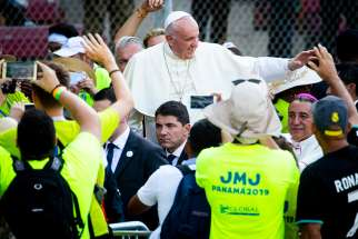 Pope Francis arrives at Panama City's Rommel Fernandez Stadium Jan. 27, 2019, to thank World Youth Day volunteers for their service in making the event a reality.
