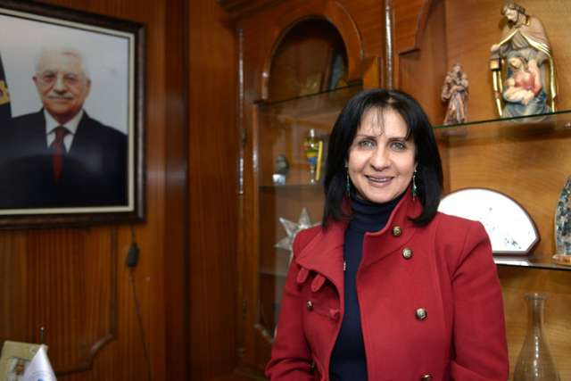 Vera Baboun, mayor of Bethlehem, West Bank. She is pictured in her office on Bethlehem's Manger Square March 12.
